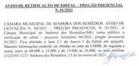 Aviso de Retificação de Edital- Pregão Presencial 001.2021– Processo Licitatório Nº 004/2021
